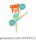 Cute little red haired girl dancing with blue 30258312