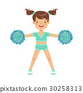 Happy little girl dancing with blue pompoms 30258313