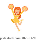 Cute little red haired girl dancing with yellow 30258329