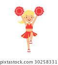 Cute little blond cheerleader girl dancing with 30258331