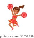 Smiling little cheerleader dancing with red 30258336