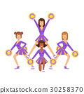 Cheerleader girls with colorful pompoms dancing to 30258370