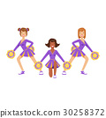 Cheerleader girls with pompoms dancing to support 30258372