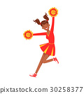 Cheerleader girl jumping with red and yellow 30258377
