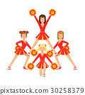 Cheerleader girls with pompoms dancing to support 30258379