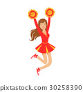 Cheerleader girl jumping with red and yellow 30258390