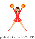 Cheerleader girl teenager dancing with red and 30258395