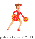 Cheerleader girl teenager dancing with red and 30258397