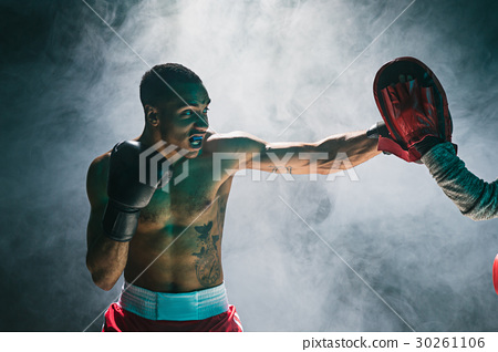 Afro american male boxer. 30261106