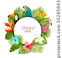 Summer Card With Tropical Plants, Hibiscus 30265643