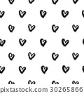 Hand drawn ink hearts seamless pattern vector 30265866