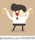 Businessman drink beer 30268706