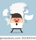 Businessman holding a lot of documents 30269344