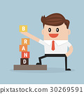 Businessman is building BRAND, vector, flat design 30269591