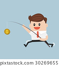 Businessman with money on fishing rod. vector. 30269655