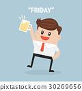 Businessman holding beer. Cartoon Vector 30269656