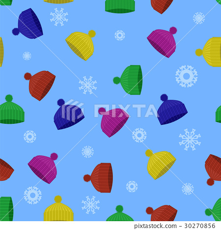 Colorful Winter Knitted Hat Seamless Pattern 30270856