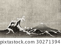 Japanese Background Materials Great Waves and Mt. Fuji 30271394