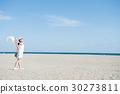 홀로 여행 모래 젊은 여성 30273811