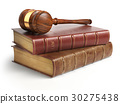 Gavel and lawyer books isolated on white. Justice 30275438