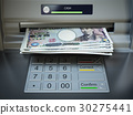 ATM machine and money. Withdrawing yen banknotes. 30275441