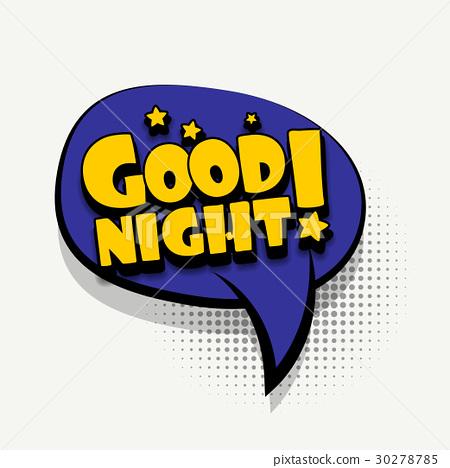 Comic book text bubble template good night - Stock