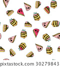 Seamless vector pattern with doodle sweet cakes. 30279843