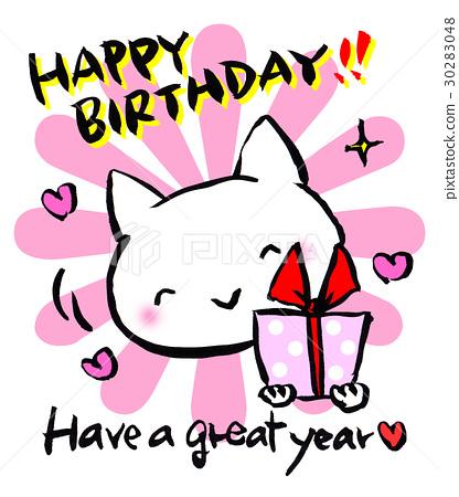 貓與生日快樂禮物英語 30283048