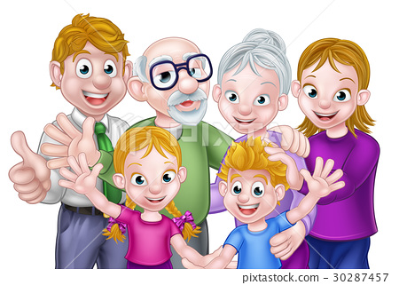 Cartoon Kids Parents and Grandparents 30287457