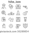 Police icon set in thin line style 30289854