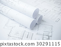 architectural drawing paper rolls of a dwelling 30291115