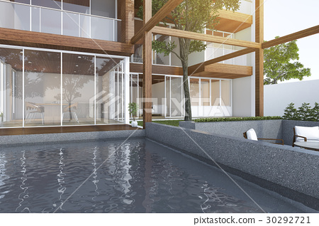 outdoor pool near wood modern building 30292721