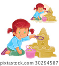 Vector illustration of a little girl is building a 30294587