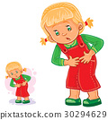Vector little girl clings to her stomach 30294629