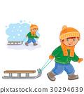 boy, pull, sled 30294639