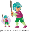 Vector little child playing baseball 30294648
