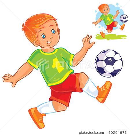 Vector little boy playing soccer. 30294671
