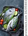 Fresh uncooked Dorado fish or sea bream 30295603