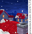 Vector illustration of houses at night 30297173