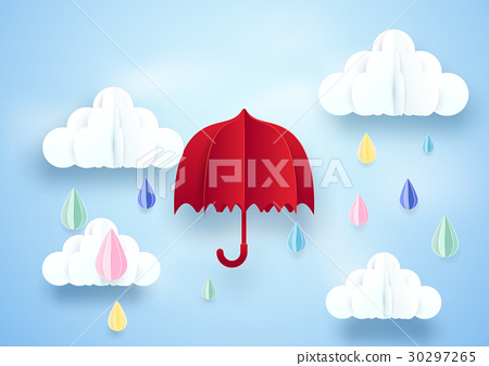 Red umbrella and rainy on clouds background 30297265