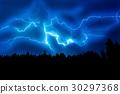 Lightning strike on a dark blue sky 30297368