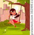 Vector illustration of a young girl sitting on 30299511