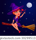 Vector illustration of a young girl witch 30299513