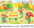 Vector illustration of young children playing 30299540