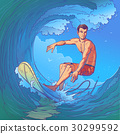 Vector illustration of a surfer 30299592