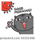 아침에 일어 났을 고양이 일러스트 30302488