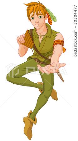 Boy Wearing Peter Pan Costume 30304477