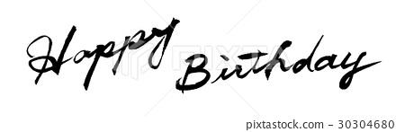 HAPPY BIRTHDAY brush character handwritten Happy birthday 30304680