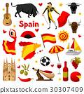 Spain icons set. Spanish traditional symbols and 30307409