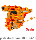 Map of Spain background design. Spanish 30307423